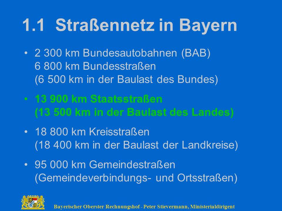 Bayerischer Oberster Rechnungshof - Peter Stievermann, Ministerialdirigent 1.1 Straßennetz in Bayern 2 300 km Bundesautobahnen (BAB) 6 800 km Bundesst