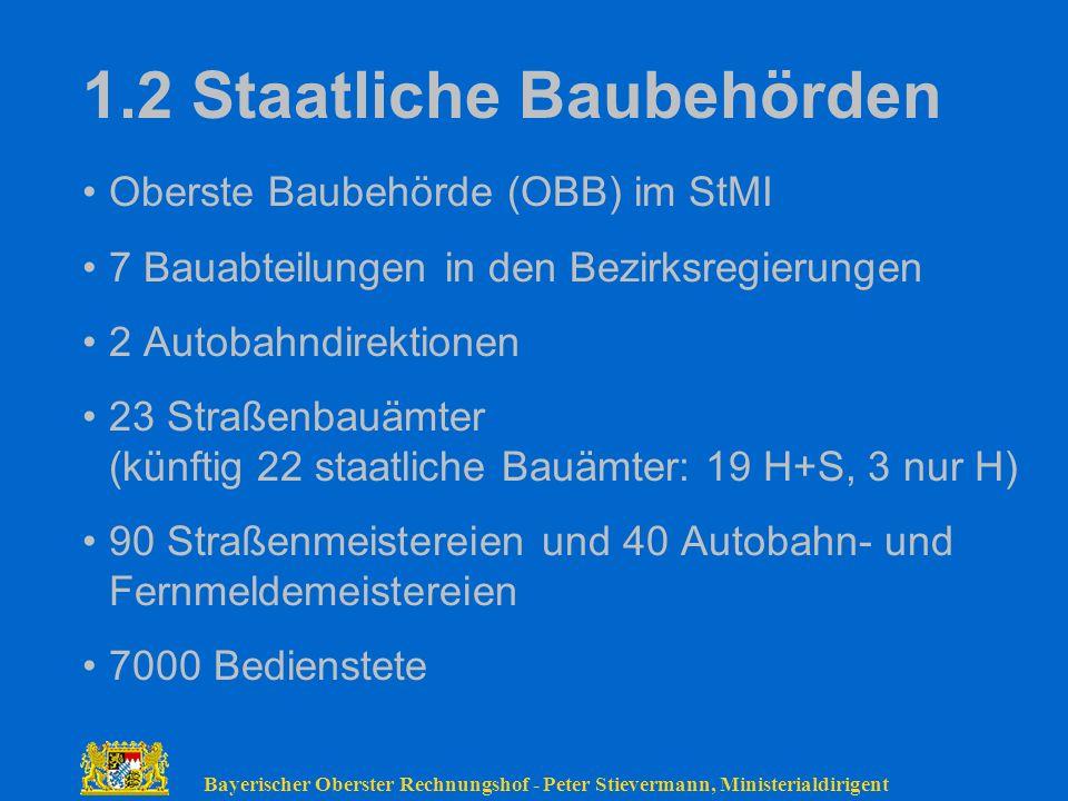 Bayerischer Oberster Rechnungshof - Peter Stievermann, Ministerialdirigent 1.2 Staatliche Baubehörden Oberste Baubehörde (OBB) im StMI 7 Bauabteilunge