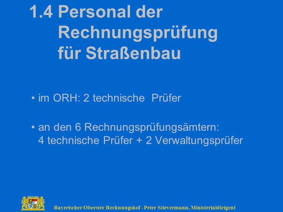 Bayerischer Oberster Rechnungshof - Peter Stievermann, Ministerialdirigent 1.4 Personal der Rechnungsprüfung für Straßenbau im ORH: 2 technische Prüfe