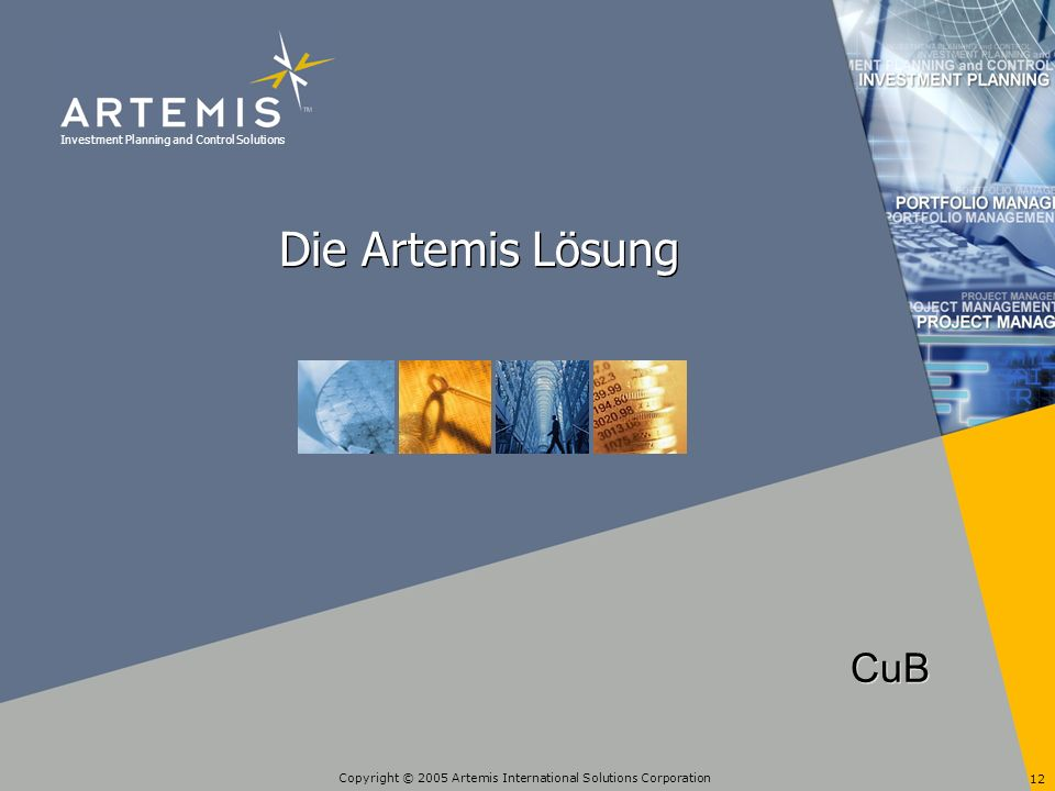 Investment Planning and Control Solutions Copyright © 2005 Artemis International Solutions Corporation 12 Die Artemis Lösung CuB