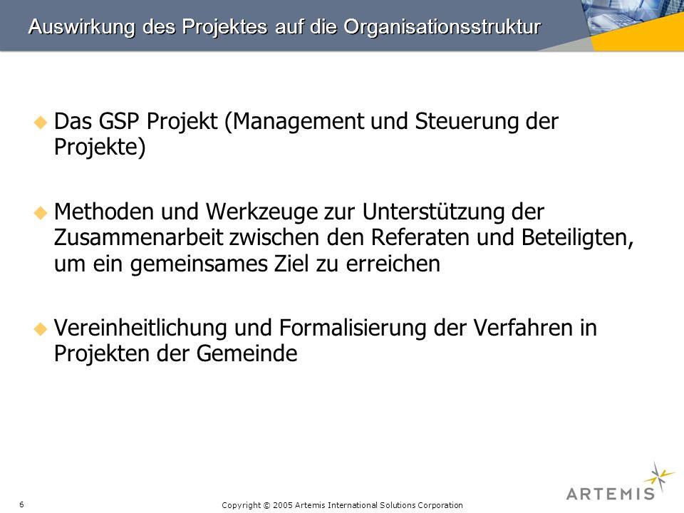 Copyright © 2005 Artemis International Solutions Corporation 6 Auswirkung des Projektes auf die Organisationsstruktur Das GSP Projekt (Management und