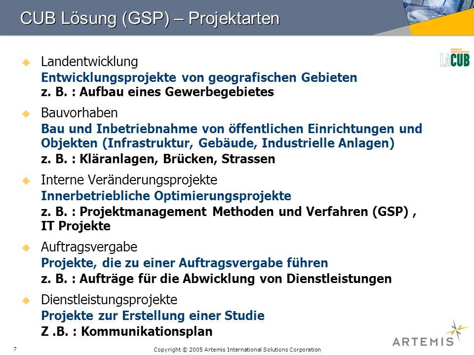 Copyright © 2005 Artemis International Solutions Corporation 7 CUB Lösung (GSP) – Projektarten Landentwicklung Entwicklungsprojekte von geografischen