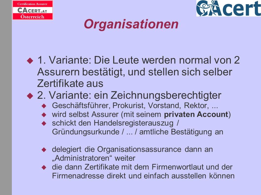 Organisationen 1. Variante: Die Leute werden normal von 2 Assurern bestätigt, und stellen sich selber Zertifikate aus 2. Variante: ein Zeichnungsberec