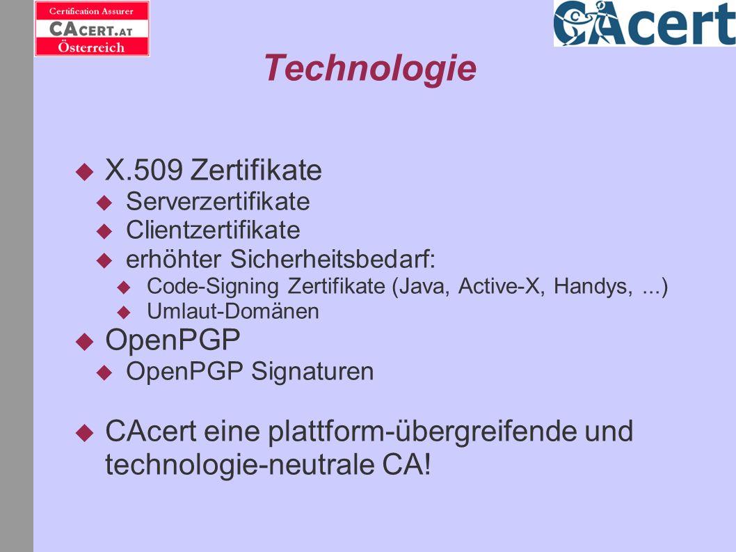 Technologie X.509 Zertifikate Serverzertifikate Clientzertifikate erhöhter Sicherheitsbedarf: Code-Signing Zertifikate (Java, Active-X, Handys,...) Um