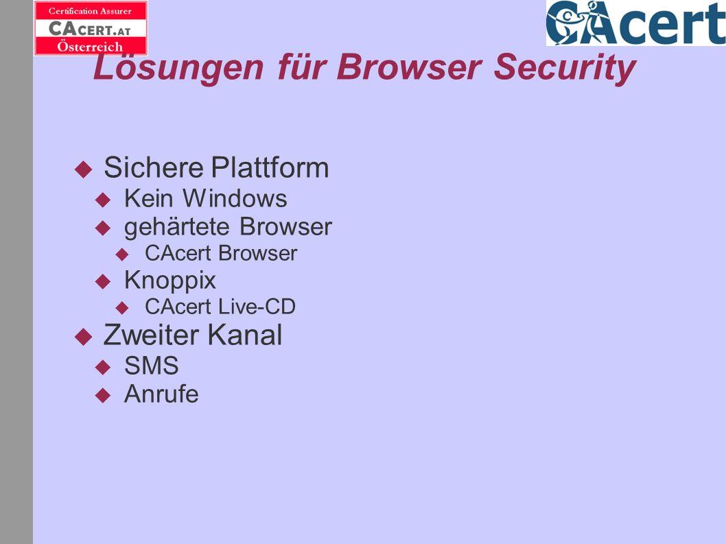 Lösungen für Browser Security Sichere Plattform Kein Windows gehärtete Browser CAcert Browser Knoppix CAcert Live-CD Zweiter Kanal SMS Anrufe