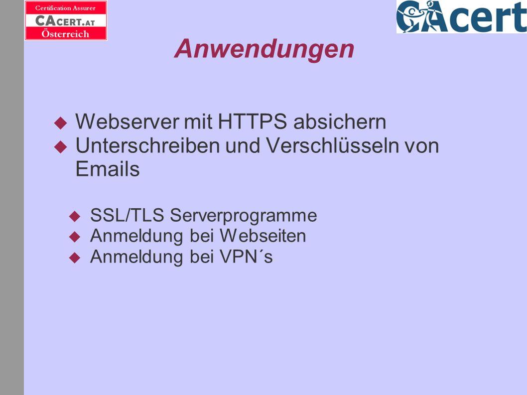 Anwendungen Webserver mit HTTPS absichern Unterschreiben und Verschlüsseln von Emails SSL/TLS Serverprogramme Anmeldung bei Webseiten Anmeldung bei VP