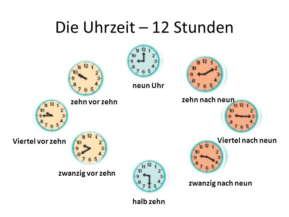 Die Uhrzeit – 12 Stunden neun Uhr zehn nach neun Viertel nach neun zwanzig nach neun halb zehn zwanzig vor zehn Viertel vor zehn zehn vor zehn