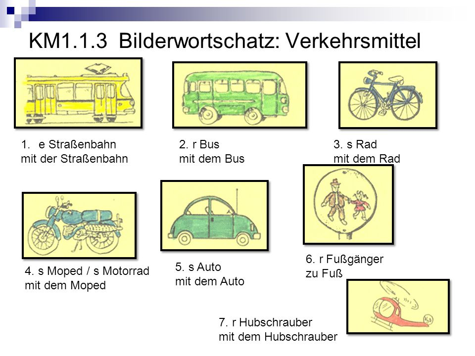 KM1.1.3 So sagt man das.Talking about how someone gets to school.