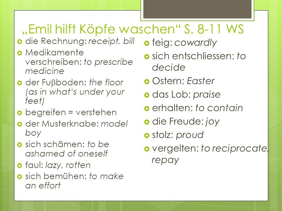 Emil hilft Köpfe waschen S. 8-11 WS die Rechnung: receipt, bill Medikamente verschreiben: to prescribe medicine der Fu boden: the floor (as in whats u