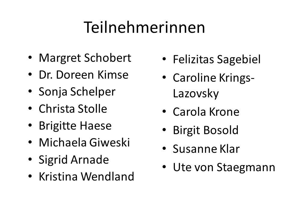 Teilnehmerinnen Margret Schobert Dr. Doreen Kimse Sonja Schelper Christa Stolle Brigitte Haese Michaela Giweski Sigrid Arnade Kristina Wendland Felizi
