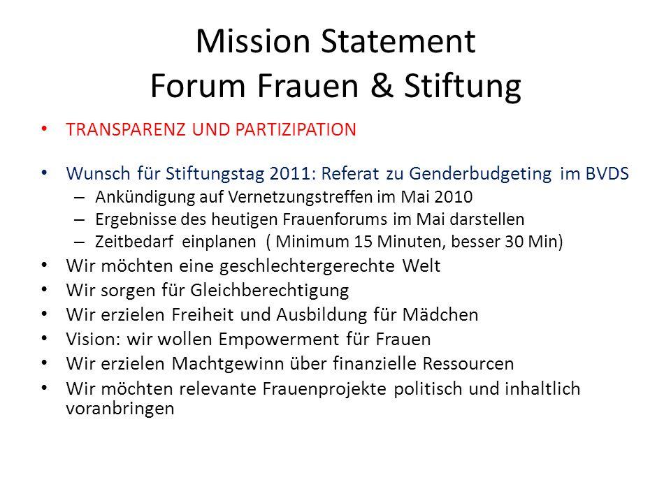 Mission Statement Forum Frauen & Stiftung TRANSPARENZ UND PARTIZIPATION Wunsch für Stiftungstag 2011: Referat zu Genderbudgeting im BVDS – Ankündigung