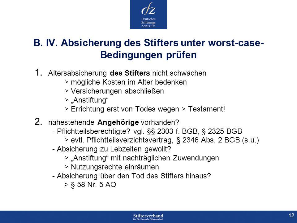 12 B. IV. Absicherung des Stifters unter worst-case- Bedingungen prüfen 1. Altersabsicherung des Stifters nicht schwächen > mögliche Kosten im Alter b