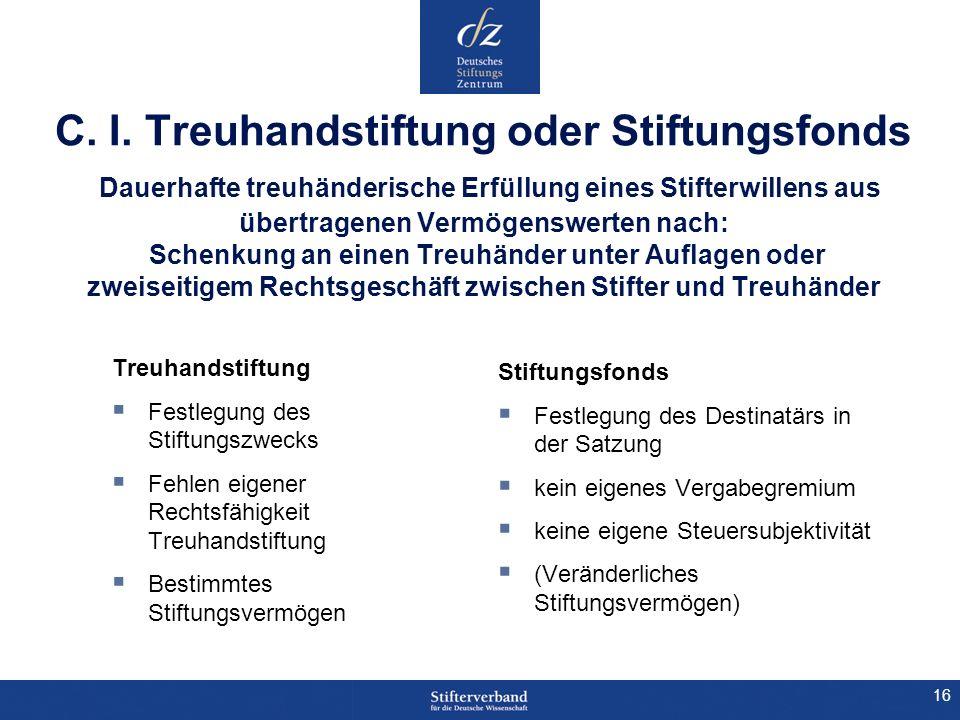 16 C. I. Treuhandstiftung oder Stiftungsfonds Dauerhafte treuhänderische Erfüllung eines Stifterwillens aus übertragenen Vermögenswerten nach: Schenku
