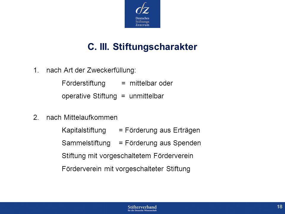18 C. III. Stiftungscharakter 1.nach Art der Zweckerfüllung: Förderstiftung = mittelbar oder operative Stiftung = unmittelbar 2.nach Mittelaufkommen K