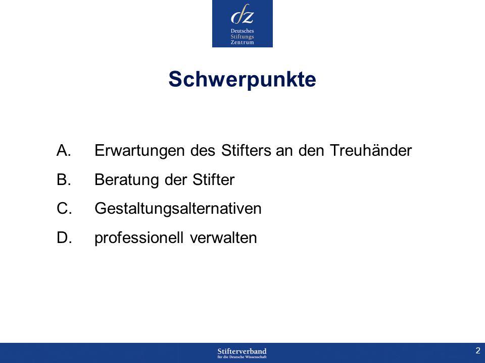 2 Schwerpunkte A. Erwartungen des Stifters an den Treuhänder B. Beratung der Stifter C. Gestaltungsalternativen D. professionell verwalten