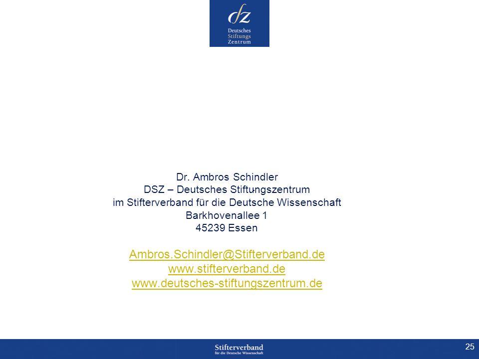 25 Dr. Ambros Schindler DSZ – Deutsches Stiftungszentrum im Stifterverband für die Deutsche Wissenschaft Barkhovenallee 1 45239 Essen Ambros.Schindler