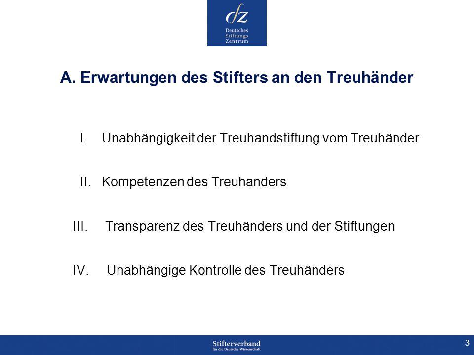 4 A.I.Unabhängigkeit der Treuhandstiftung vom Treuhänder 1.