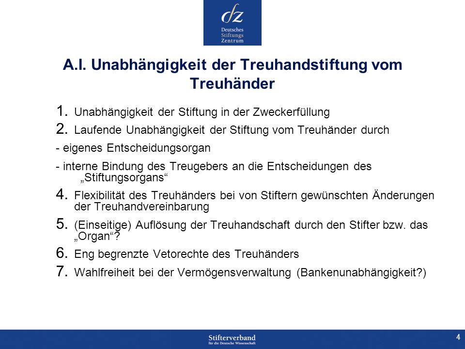 15 C.Gestaltungsalternativen I. Treuhandstiftung oder Stiftungsfonds II.