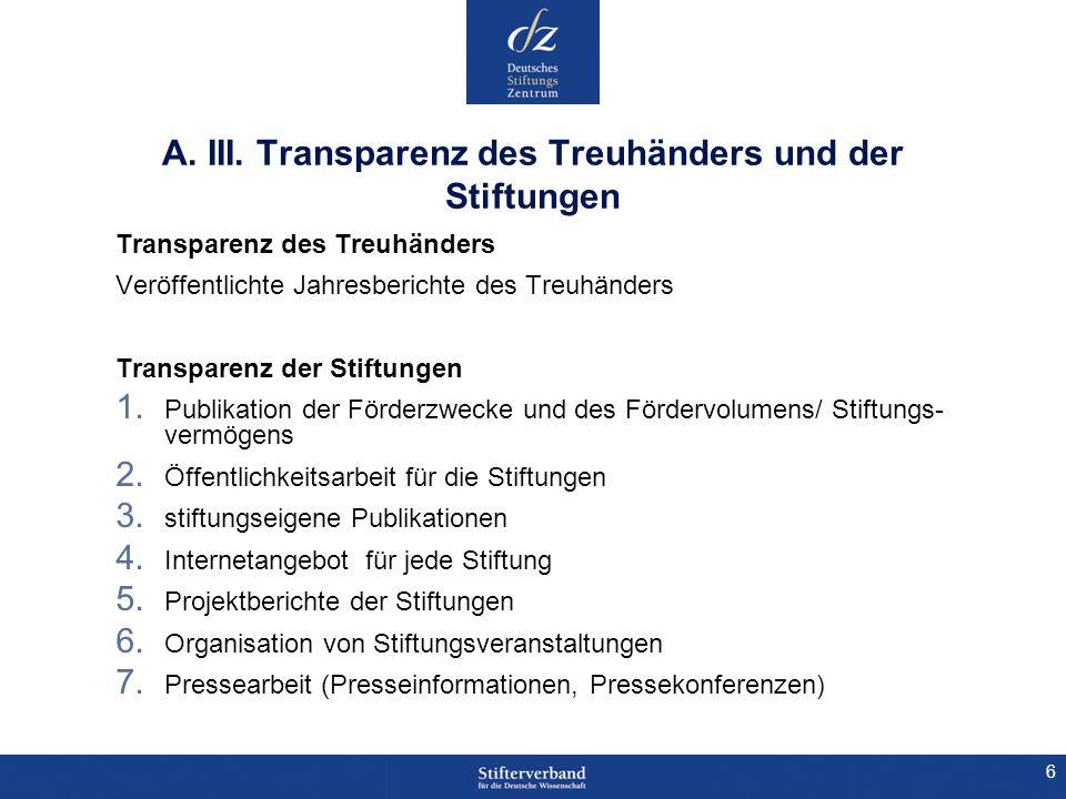 6 A. III. Transparenz des Treuhänders und der Stiftungen Transparenz des Treuhänders Veröffentlichte Jahresberichte des Treuhänders Transparenz der St