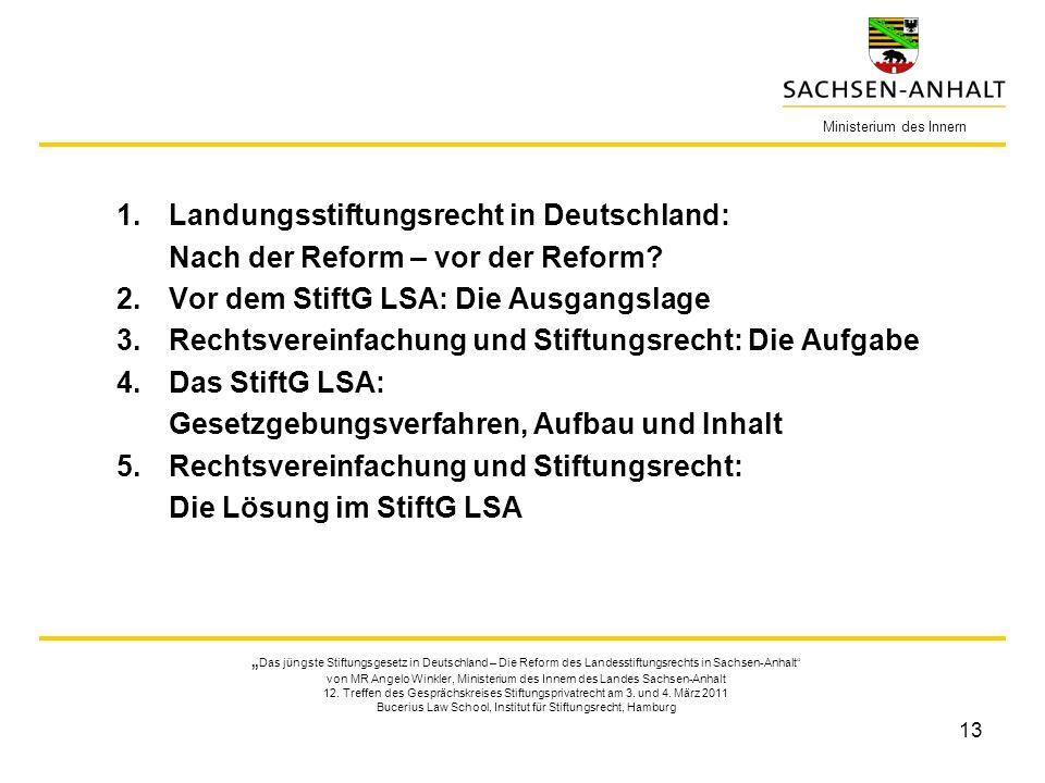 13 1.Landungsstiftungsrecht in Deutschland: Nach der Reform – vor der Reform? 2.Vor dem StiftG LSA: Die Ausgangslage 3.Rechtsvereinfachung und Stiftun