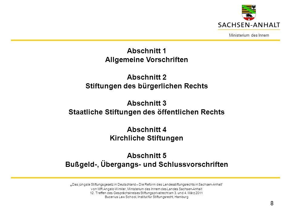 8 Ministerium des Innern Das jüngste Stiftungsgesetz in Deutschland – Die Reform des Landesstiftungsrechts in Sachsen-Anhalt von MR Angelo Winkler, Ministerium des Innern des Landes Sachsen-Anhalt 12.