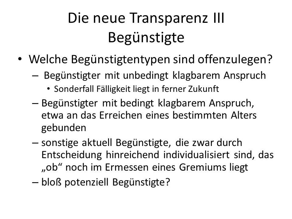 Die neue Transparenz III Begünstigte Welche Begünstigtentypen sind offenzulegen.