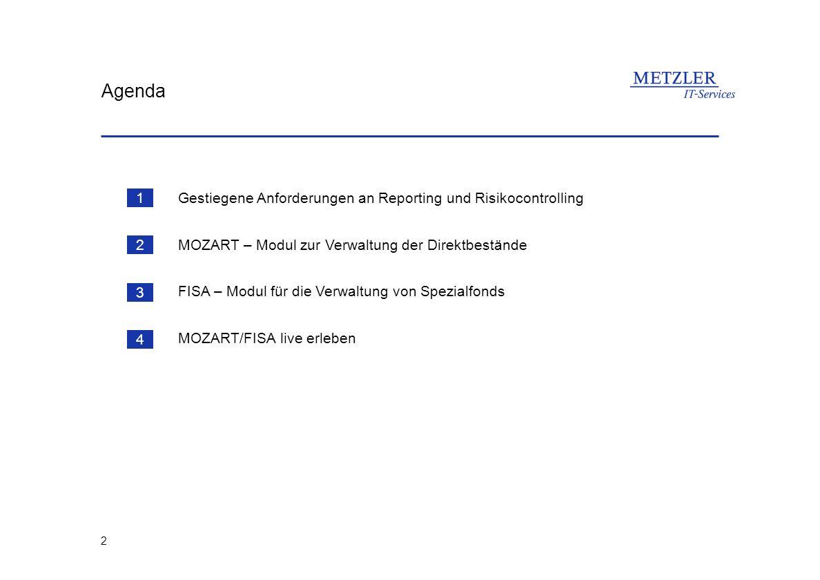 2 Agenda Gestiegene Anforderungen an Reporting und Risikocontrolling MOZART – Modul zur Verwaltung der Direktbestände FISA – Modul für die Verwaltung