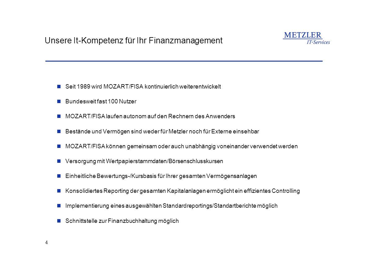 4 Unsere It-Kompetenz für Ihr Finanzmanagement Seit 1989 wird MOZART/FISA kontinuierlich weiterentwickelt Bundesweit fast 100 Nutzer MOZART/FISA laufe