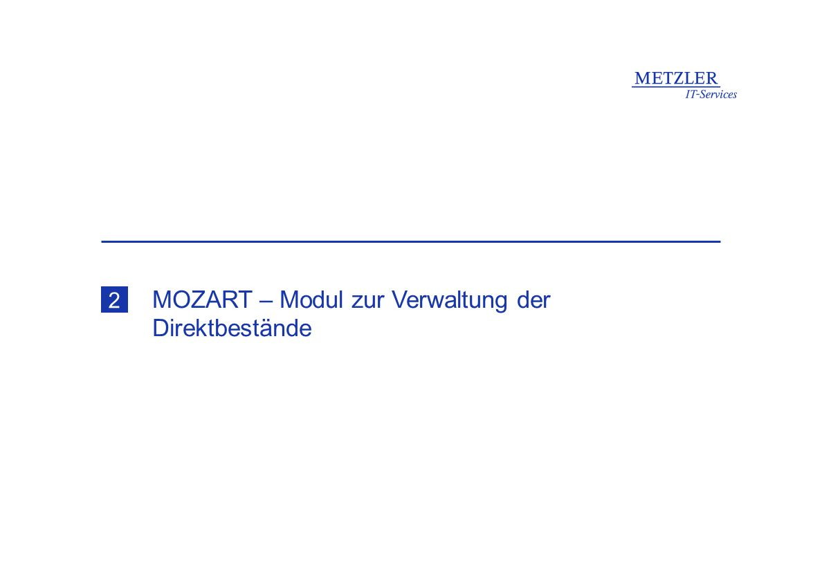 MOZART – Modul zur Verwaltung der Direktbestände 2