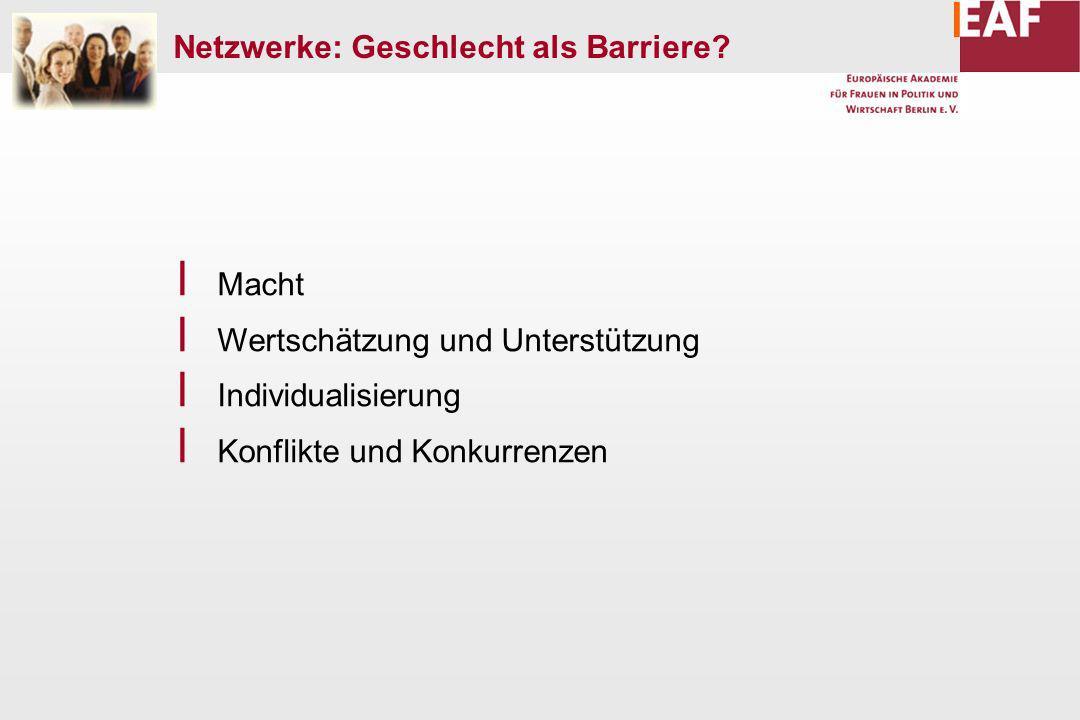 Netzwerke: Geschlecht als Barriere.