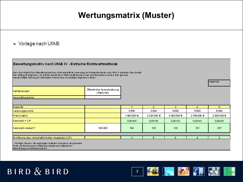 7 Vorlage nach UfAB: Wertungsmatrix (Muster)
