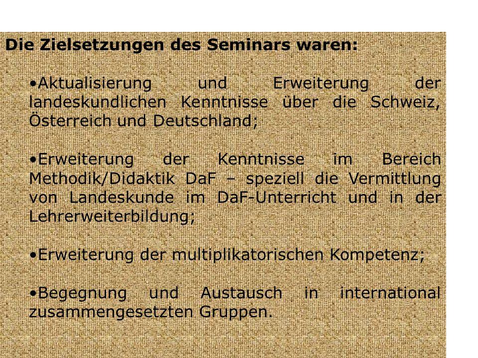 Die Zielsetzungen des Seminars waren: Aktualisierung und Erweiterung der landeskundlichen Kenntnisse über die Schweiz, Österreich und Deutschland; Erweiterung der Kenntnisse im Bereich Methodik/Didaktik DaF – speziell die Vermittlung von Landeskunde im DaF-Unterricht und in der Lehrerweiterbildung; Erweiterung der multiplikatorischen Kompetenz; Begegnung und Austausch in international zusammengesetzten Gruppen.