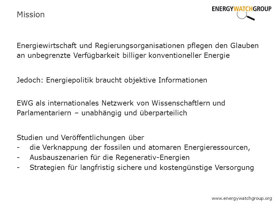 Mission Energiewirtschaft und Regierungsorganisationen pflegen den Glauben an unbegrenzte Verfügbarkeit billiger konventioneller Energie www.energywat