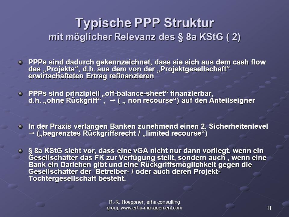 11 R.-R. Hoeppner, erha consulting group,www.erha-management.com Typische PPP Struktur mit möglicher Relevanz des § 8a KStG ( 2) PPPs sind dadurch gek