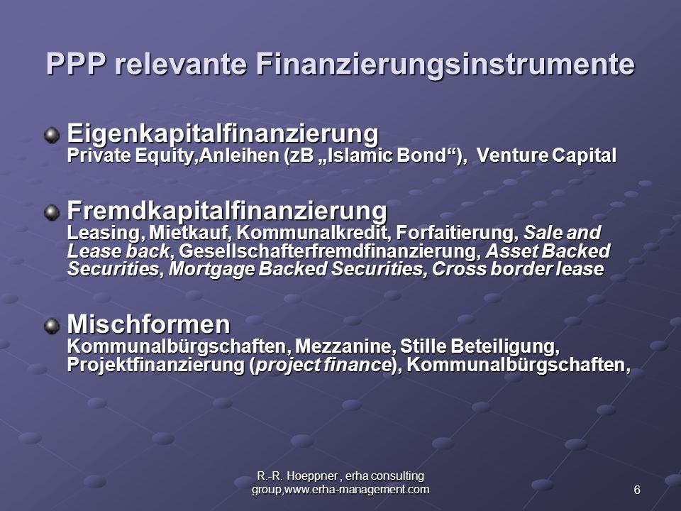 6 R.-R. Hoeppner, erha consulting group,www.erha-management.com PPP relevante Finanzierungsinstrumente Eigenkapitalfinanzierung Private Equity,Anleihe