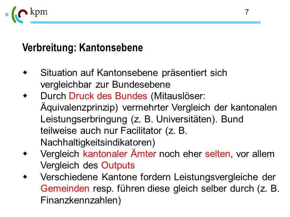 7 Verbreitung: Kantonsebene Situation auf Kantonsebene präsentiert sich vergleichbar zur Bundesebene Durch Druck des Bundes (Mitauslöser: Äquivalenzpr