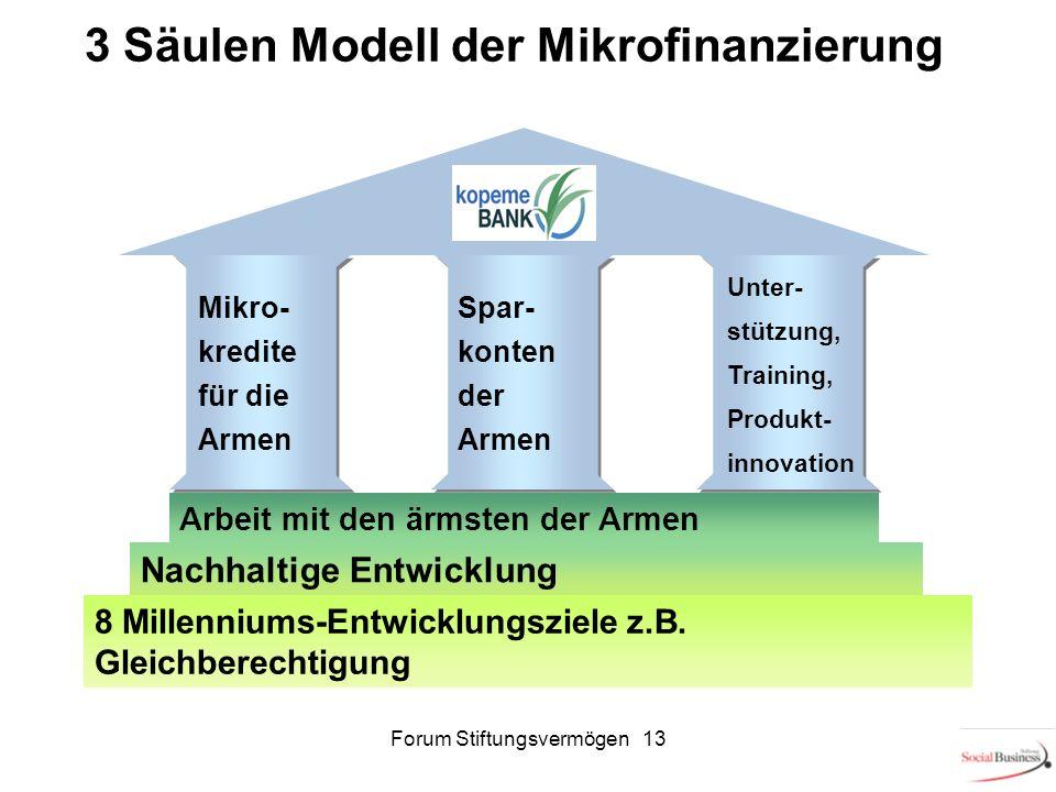 3 Säulen Modell der Mikrofinanzierung Arbeit mit den ärmsten der Armen Nachhaltige Entwicklung 8 Millenniums-Entwicklungsziele z.B. Gleichberechtigung