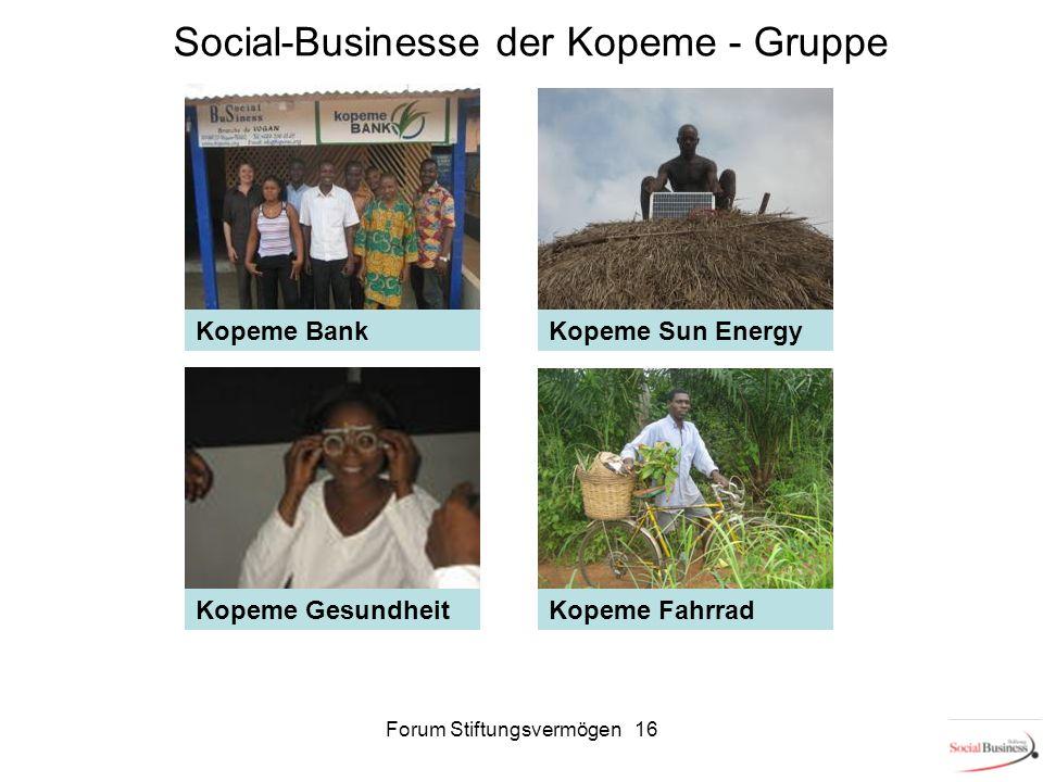 Social-Businesse der Kopeme - Gruppe Kopeme Sun Energy Kopeme FahrradKopeme Gesundheit Kopeme Bank 16Forum Stiftungsvermögen 16