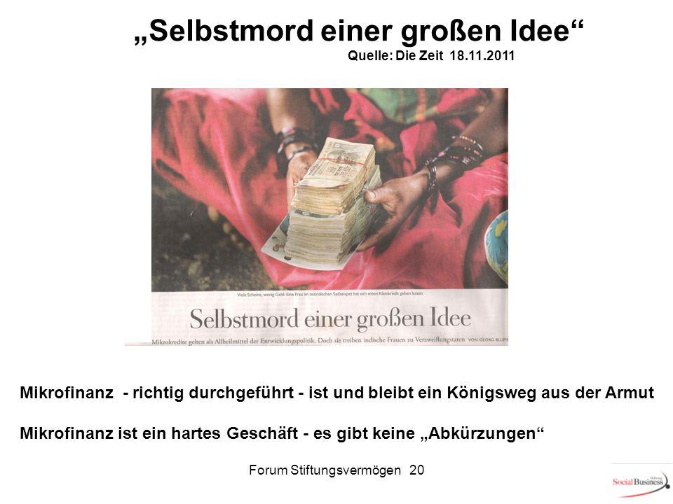 Forum Stiftungsvermögen 2020 Selbstmord einer großen Idee Quelle: Die Zeit 18.11.2011 Mikrofinanz - richtig durchgeführt - ist und bleibt ein Königswe