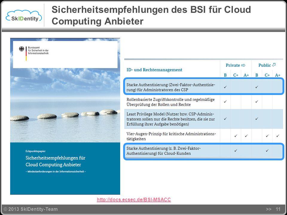 © 2013 SkIDentity-Team Sicherheitsempfehlungen des BSI für Cloud Computing Anbieter >>11 http://docs.ecsec.de/BSI-MSACC