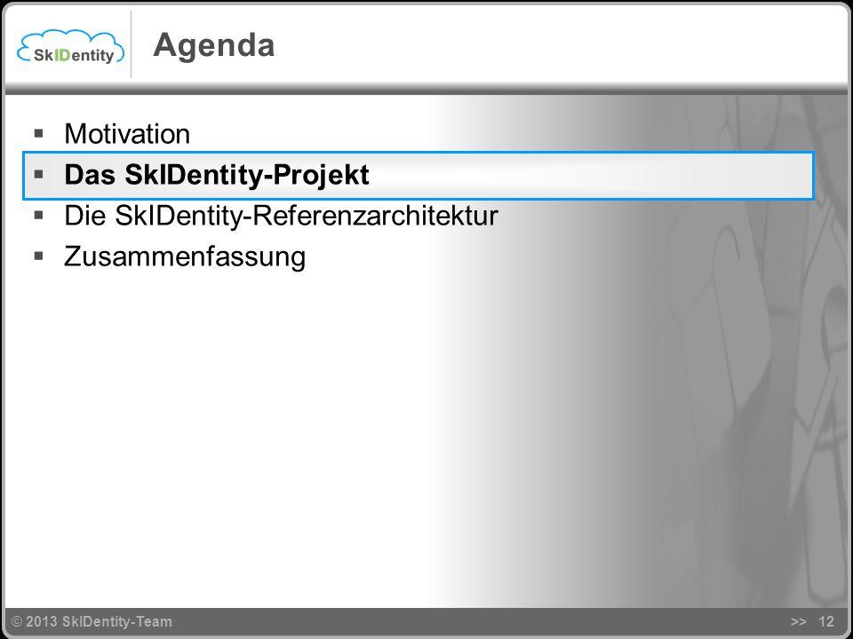 © 2013 SkIDentity-Team>>12 Agenda Motivation Das SkIDentity-Projekt Die SkIDentity-Referenzarchitektur Zusammenfassung © 2013 SkIDentity-Team