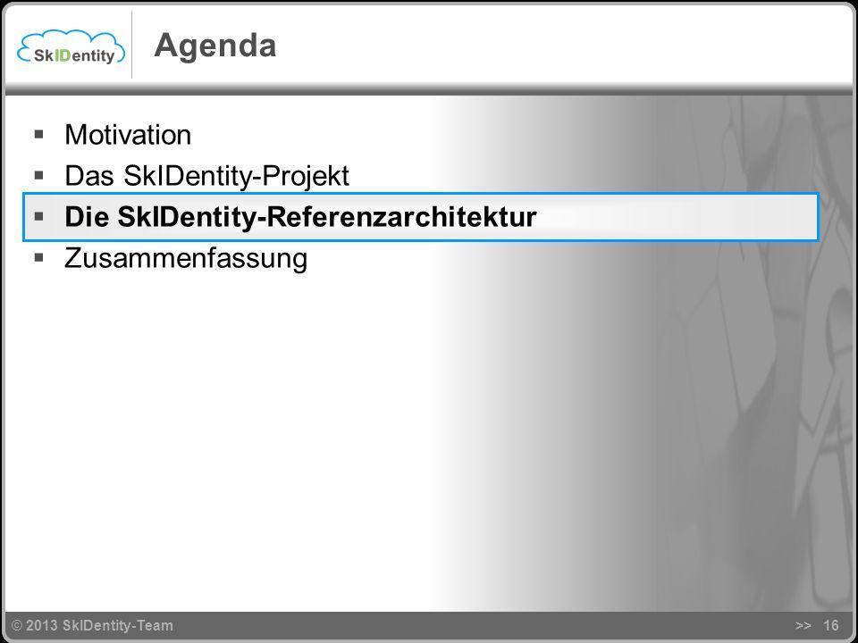 © 2013 SkIDentity-Team>>16 Agenda Motivation Das SkIDentity-Projekt Die SkIDentity-Referenzarchitektur Zusammenfassung © 2013 SkIDentity-Team