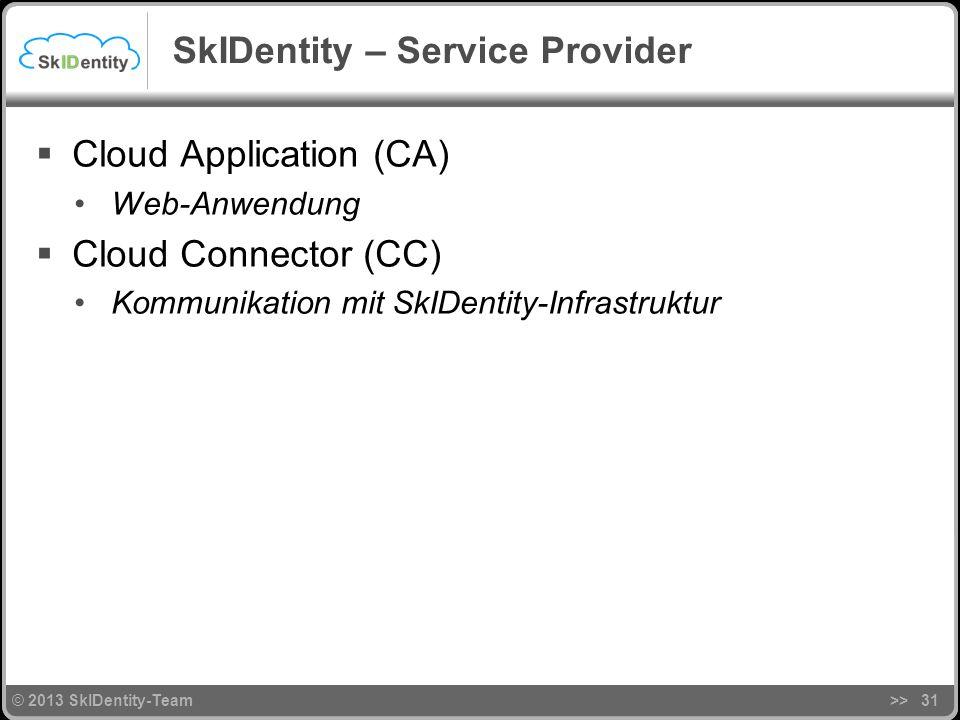 © 2013 SkIDentity-Team SkIDentity – Service Provider Cloud Application (CA) Web-Anwendung Cloud Connector (CC) Kommunikation mit SkIDentity-Infrastruktur >>31