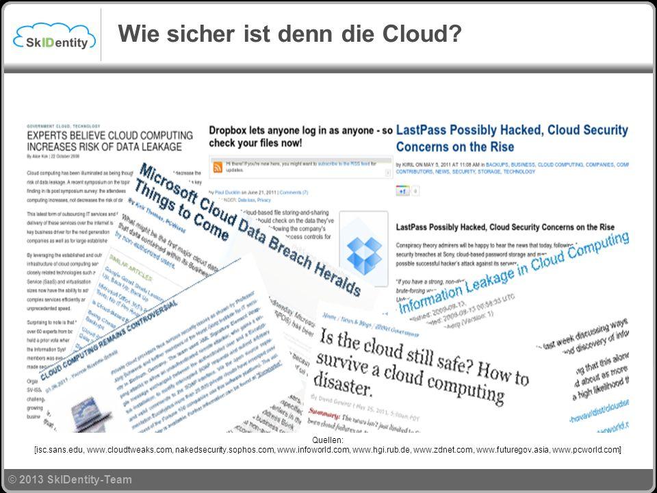 © 2013 SkIDentity-Team Quellen: [isc.sans.edu, www.cloudtweaks.com, nakedsecurity.sophos.com, www.infoworld.com, www.hgi.rub.de, www.zdnet.com, www.futuregov.asia, www.pcworld.com] Wie sicher ist denn die Cloud?