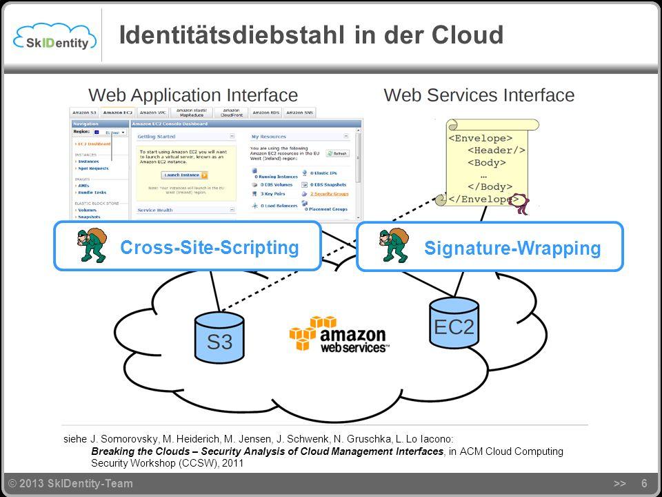 © 2013 SkIDentity-Team Identitätsdiebstahl in der Cloud >>6 Cross-Site-Scripting Signature-Wrapping siehe J.