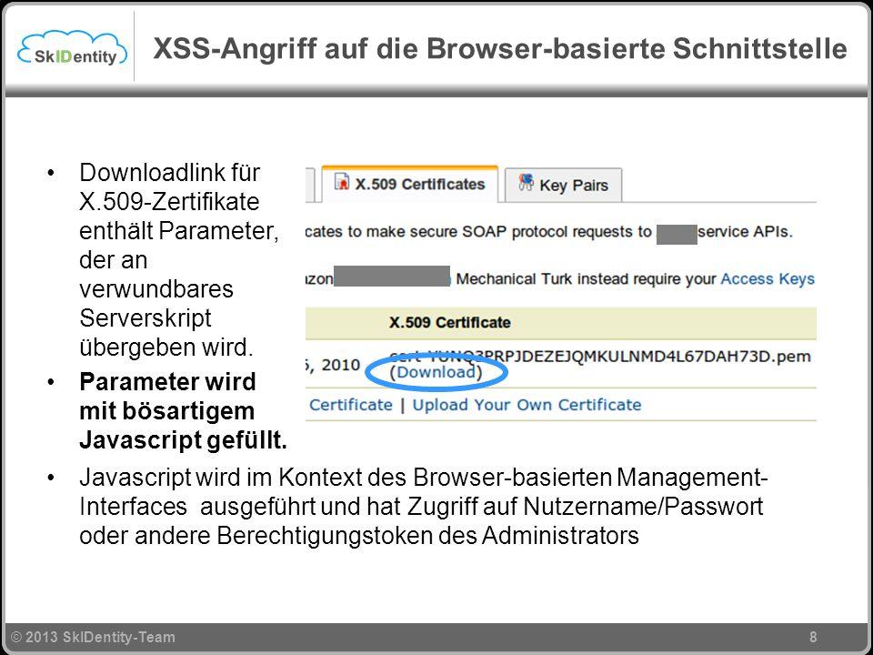 © 2013 SkIDentity-Team XSS-Angriff auf die Browser-basierte Schnittstelle 8 Downloadlink für X.509-Zertifikate enthält Parameter, der an verwundbares Serverskript übergeben wird.
