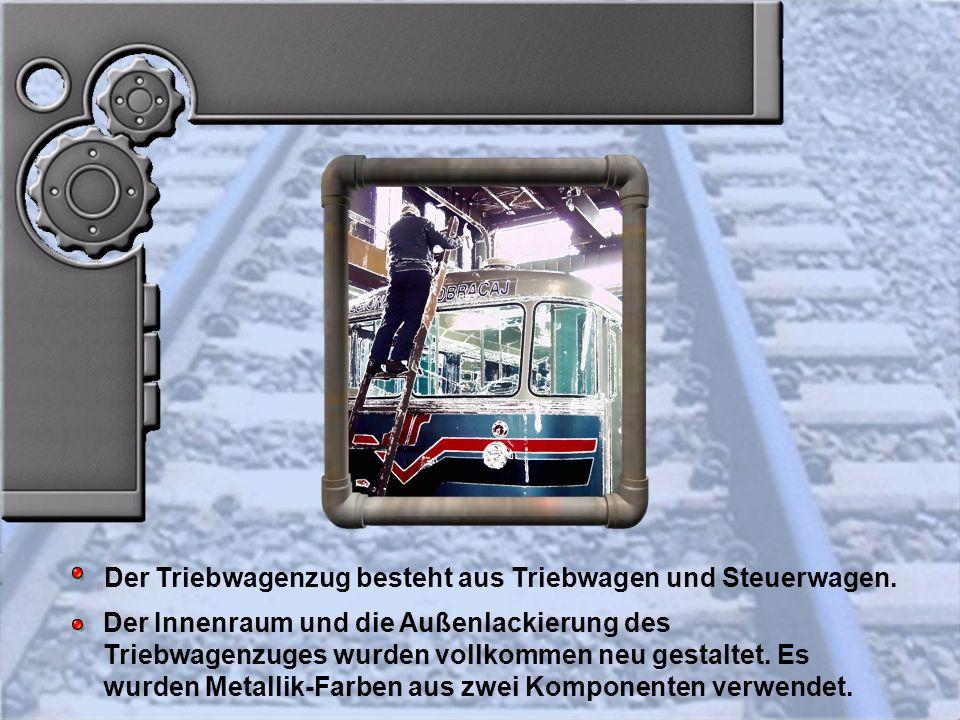 Der Triebwagenzug besteht aus Triebwagen und Steuerwagen.