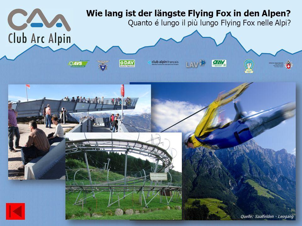 Wie lang ist der längste Flying Fox in den Alpen? Quanto é lungo il più lungo Flying Fox nelle Alpi? Quelle: Saalfelden - Leogang Der längste Flying F