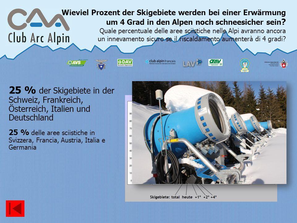 Wieviel Prozent der Skigebiete werden bei einer Erwärmung um 4 Grad in den Alpen noch schneesicher sein ? Quale percentuale delle aree sciistiche nell