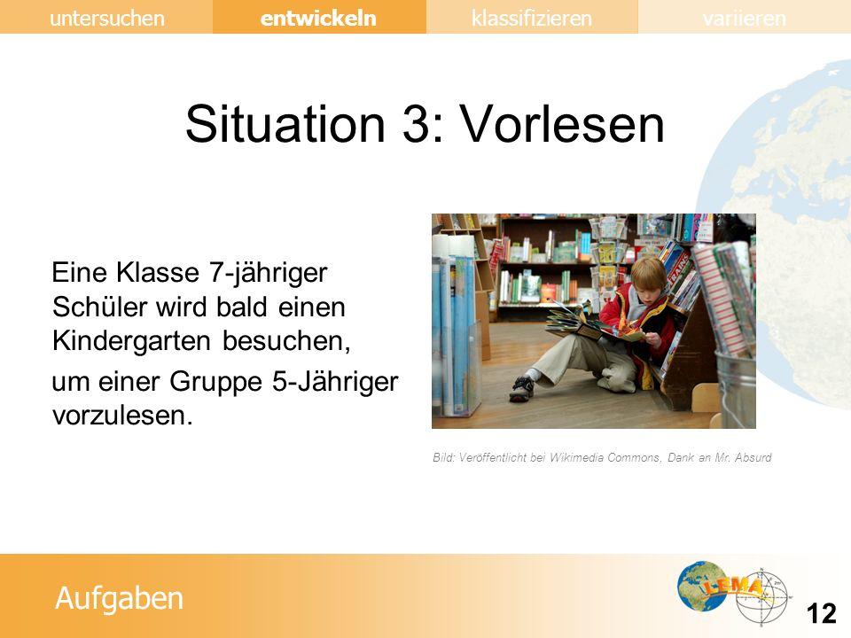 Aufgaben entwickeln 12 untersuchenklassifizierenvariieren Situation 3: Vorlesen Eine Klasse 7-jähriger Schüler wird bald einen Kindergarten besuchen, um einer Gruppe 5-Jähriger vorzulesen.